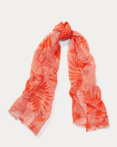 Leaf-Print Striped Scarf