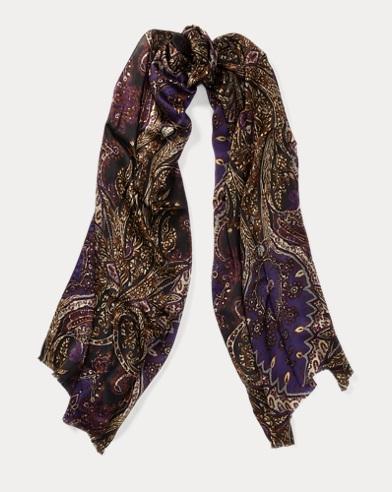 Paisley Silk Satin Scarf