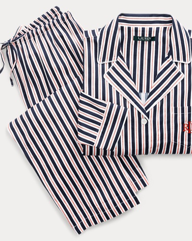 Striped Sateen Pajama Set