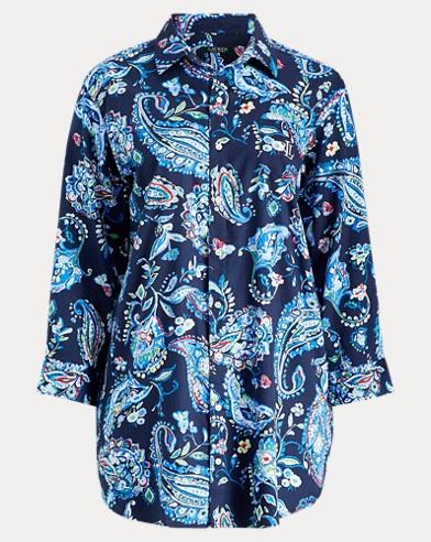 Paisley Sateen Sleep Shirt