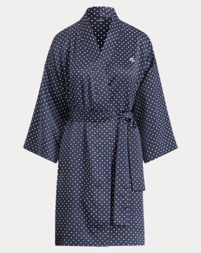 Dot Satin Kimono Robe