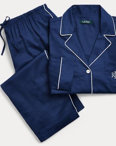 Cotton-Blend Sateen Pajama Set