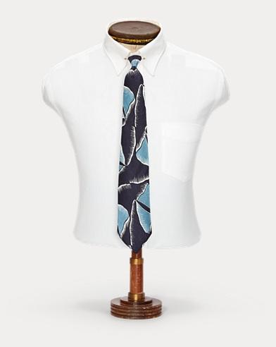 Handmade Leaf-Print Silk Tie