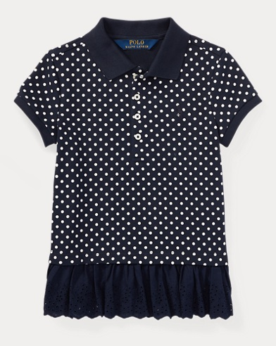 Polka-Dot Peplum Polo Shirt