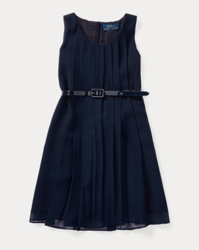 Pleated Belted Georgette Dress