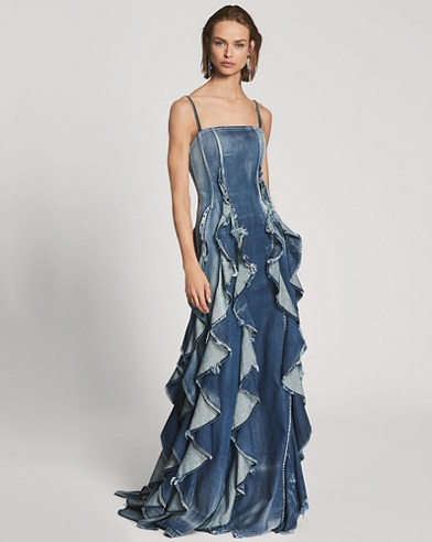 Eve Ruffled Denim Gown