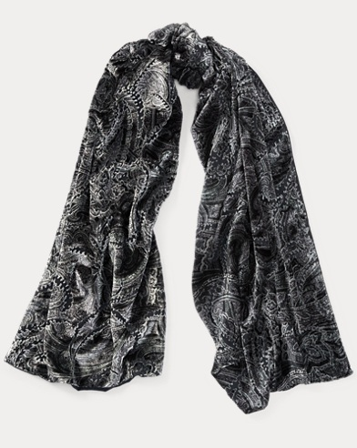 Paisley Burn-Out Velvet Scarf
