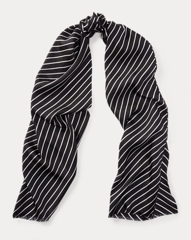 Chevron-Stripe Silk Scarf