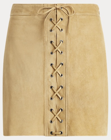 Lace-Up Suede Miniskirt