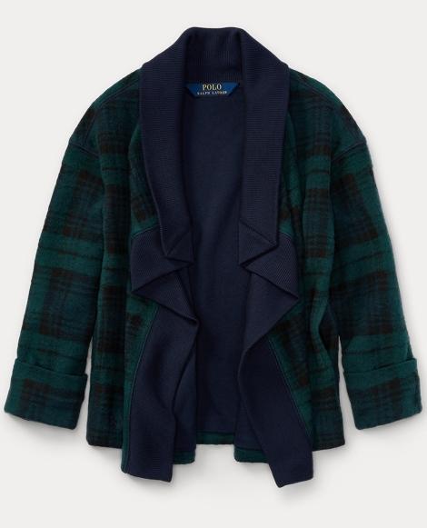 Tartan Open-Front Cardigan