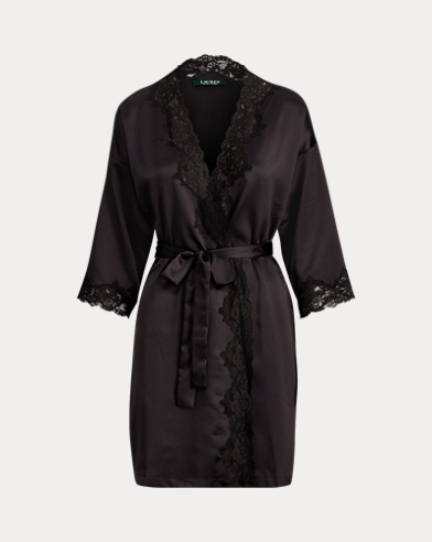 Lace-Trimmed Satin Robe