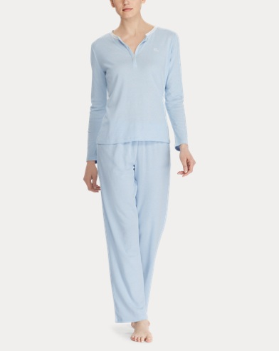 Striped Ribbed Pajama Set
