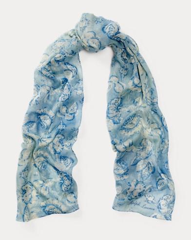 Rose-Print Cashmere-Silk Scarf