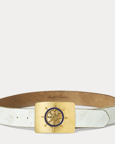 Ship's-Wheel-Buckle Calf Belt