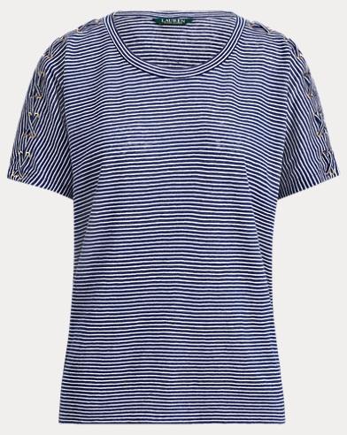 Lace-Up Linen-Cotton T-Shirt