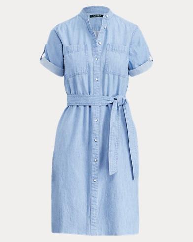 Denim Short-Sleeve Shirtdress