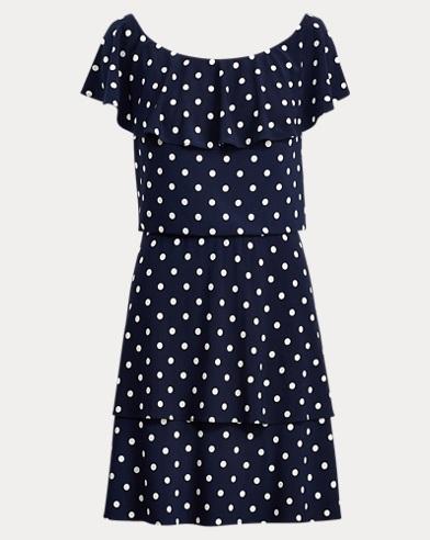 Polka-Dot Stretch Jersey Dress