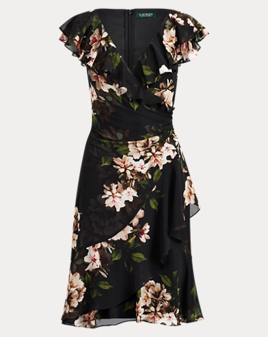 Floral-Print Surplice Dress