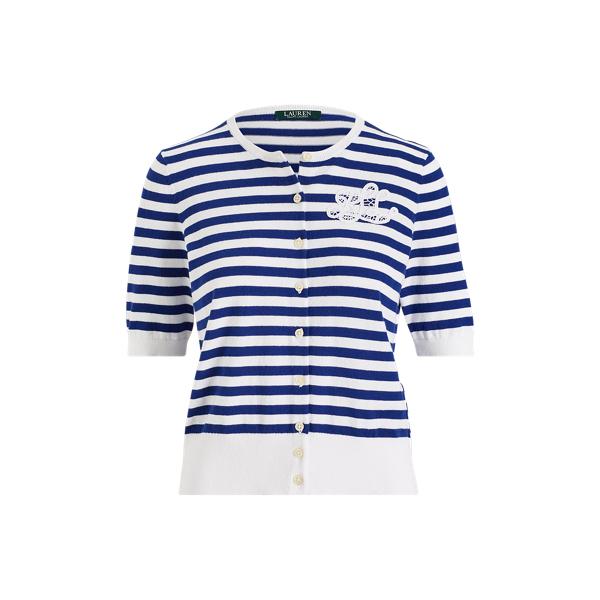Ralph Lauren Monogram Striped Cardigan Sapphire/Soft White Lp