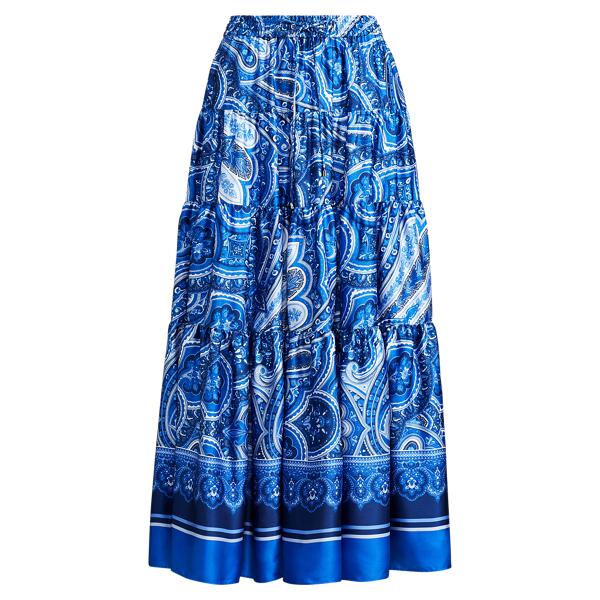 Ralph Lauren Paisley-Print Twill Maxiskirt Blue Multi Lp