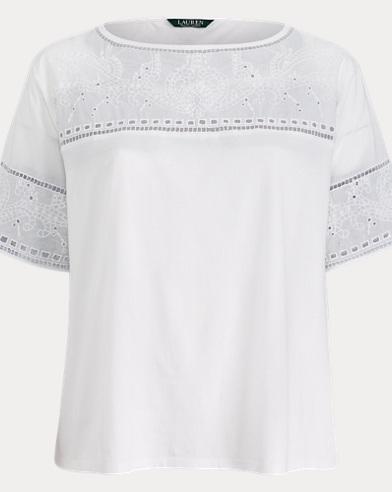 Eyelet Cotton-Blend T-Shirt