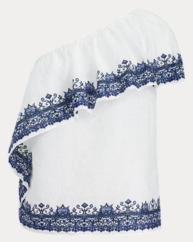 Linen One-Shoulder Top