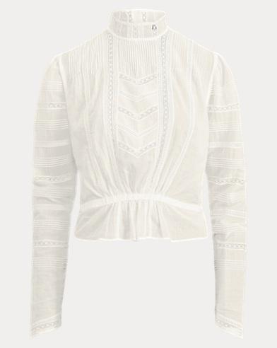 Lace-Trim Cotton Voile Shirt