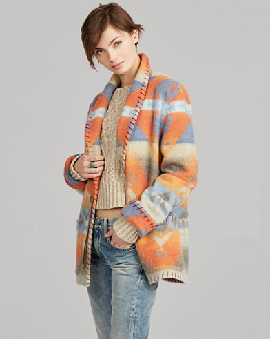Geometric Wool Shawl Coat