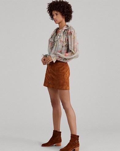 Buttoned Suede Miniskirt