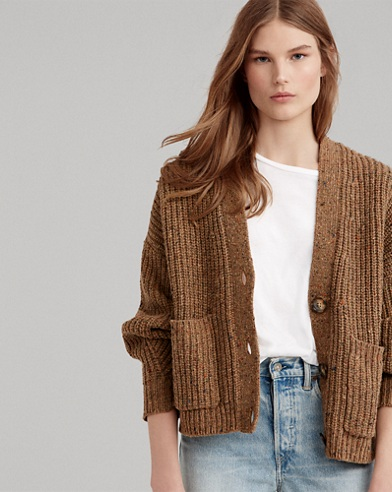 Cropped Wool-Blend Cardigan
