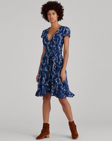 Floral Gauze Wrap Dress