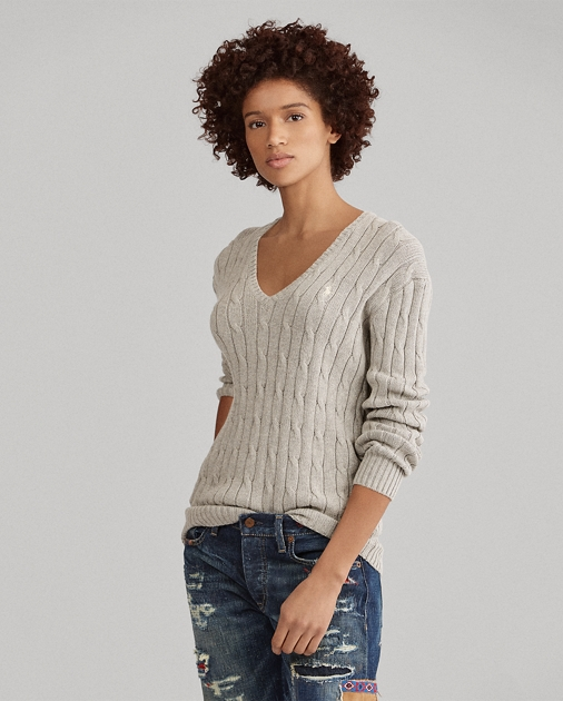 Cotton Cable V Neck Sweater by Ralph Lauren