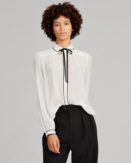 Tie Neck Silk Button Down by Ralph Lauren