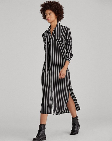 Tie-Neck Silk Dress