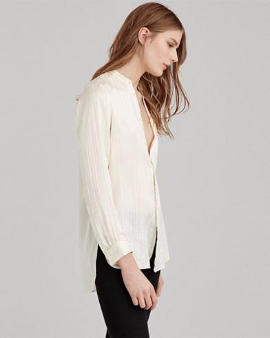 Striped Silk Band-Collar Shirt