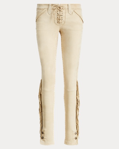 Fringe-Trim Leather Pant