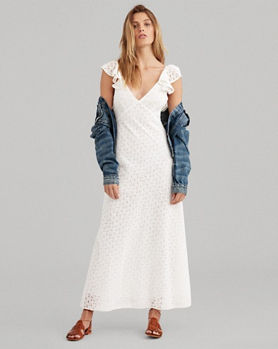 Eyelet Cotton Open-Back Dress