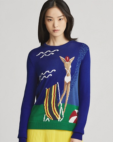 Beach Scene Silk Sweater
