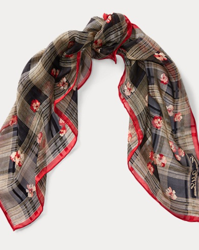 Floral-Print Plaid Silk Scarf