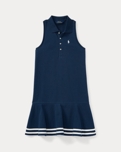Striped Mesh Polo Dress