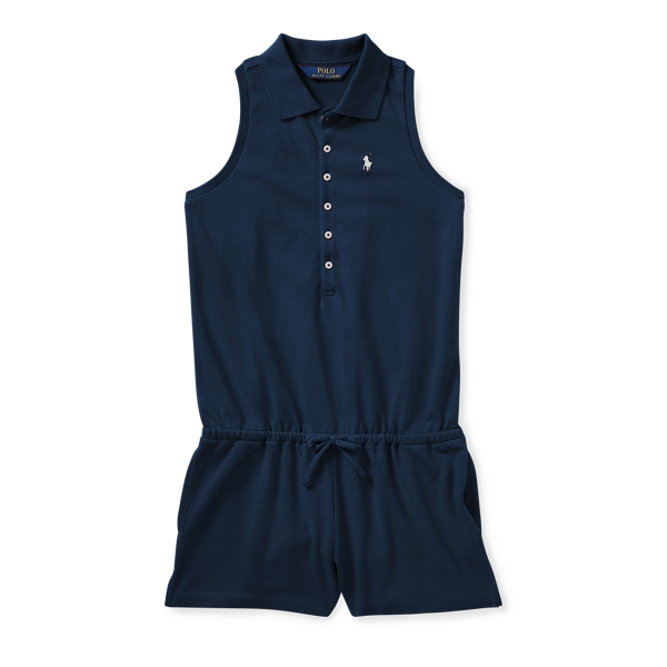 Ralph Lauren Stretch Cotton Mesh Romper Summer Navy S