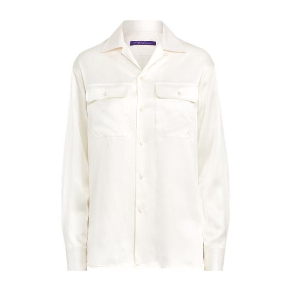 Ralph Lauren Tillery Silk Camp Shirt Cream 2