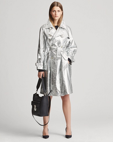 Jayne Metallic Leather Trench