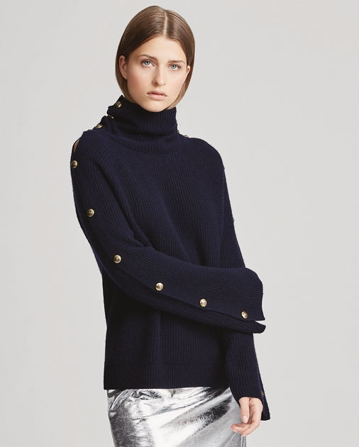 Button Sleeve Cashmere Sweater by Ralph Lauren
