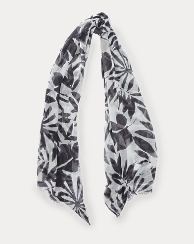 Palm-Leaf Cotton-Blend Scarf