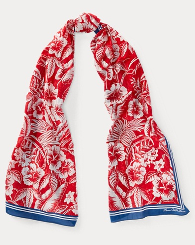 Tropical Cotton-Blend Scarf