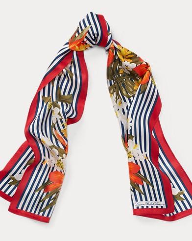 Floral & Striped Silk Scarf
