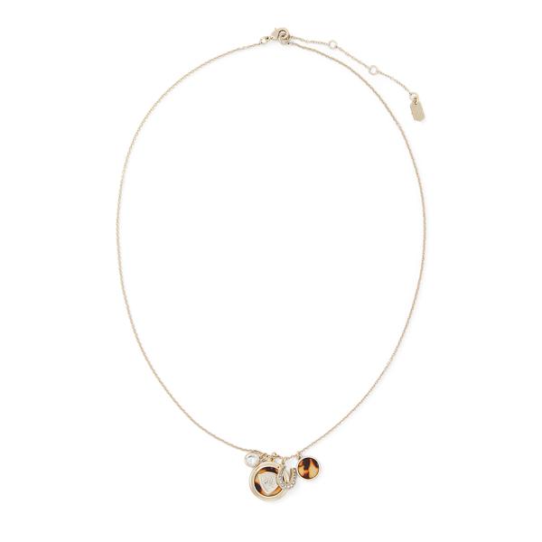 Ralph Lauren Equestrian Pendant Necklace Gold/Tort One Size