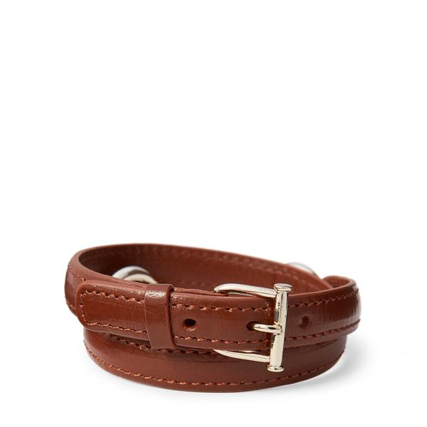 Ralph Lauren Equestrian Leather Bracelet Silver/Saddle One Size