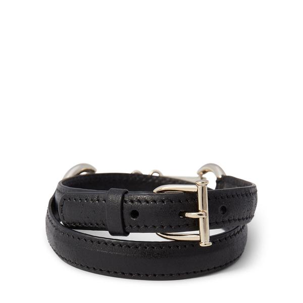Ralph Lauren Equestrian Leather Bracelet Gold/Black One Size